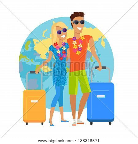 Couple traveling summer vacation vector in flat design. Honeymoon in exotic countries concept. Young man and woman with necklace of flowers embracing and holding suitcases on world map background.