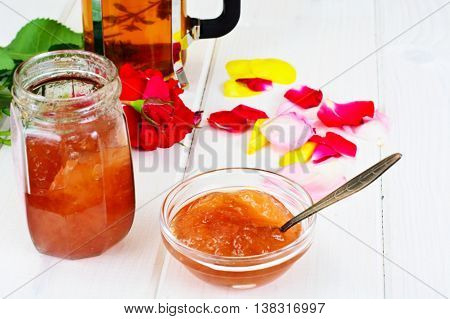 Jam Made of Rose Petals on the Old Wooden Boards. National Bulgarian Cuisine