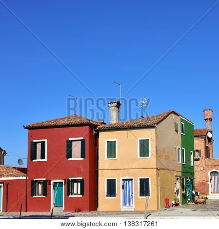 Colorful houses on the famous island Burano Venice. Venice are on the UNESCO World Heritage List