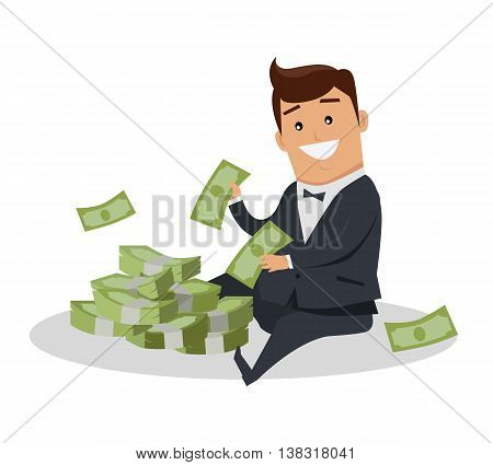 Male character with stack of money vector. Flat style design. Smiling man in business suit sitting near pile of dollar banknotes. Investment, wages, income, credit, savings, charity, wealth concept.