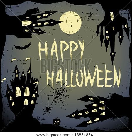 Happy halloween card.  Halloween vector template with  four haunted castle, pumpkin,  full moon and bats. Halloween vector card dark backdrop. Vector design elements.