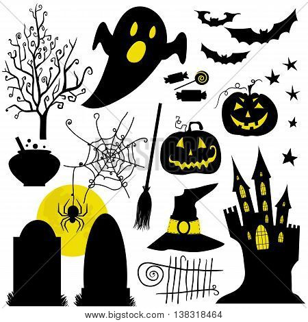 Halloween black and yellow icons set. White backdrop. Halloween element pumpkin ghost and bat and other