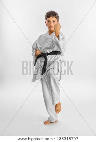 Karate kid posing