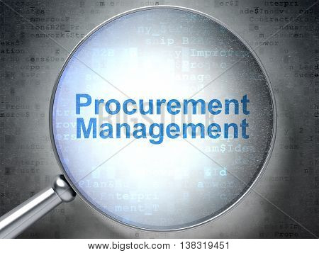 Business concept: magnifying optical glass with words Procurement Management on digital background, 3D rendering