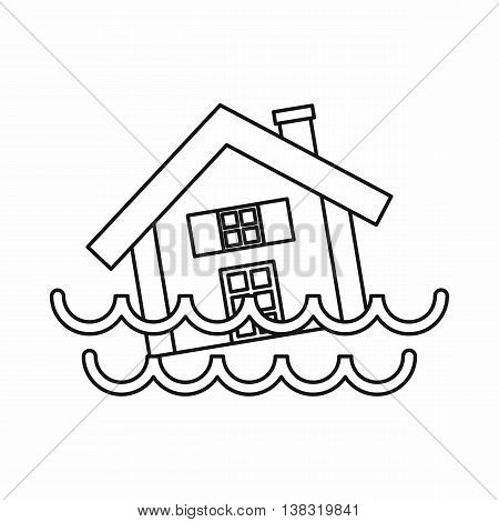 House sinking in a water icon in outline style isolated vector illustration