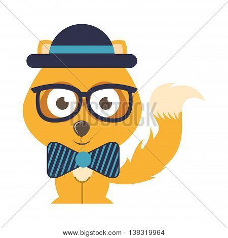 fox character hipster style isolated icon design, vector illustration  graphic