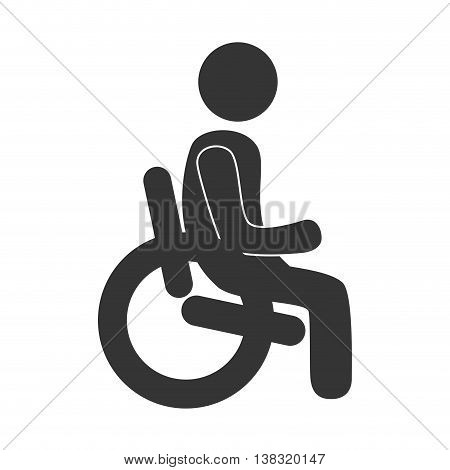 Handicap in black and white colors isolated flat icon, vector illustration graphic.