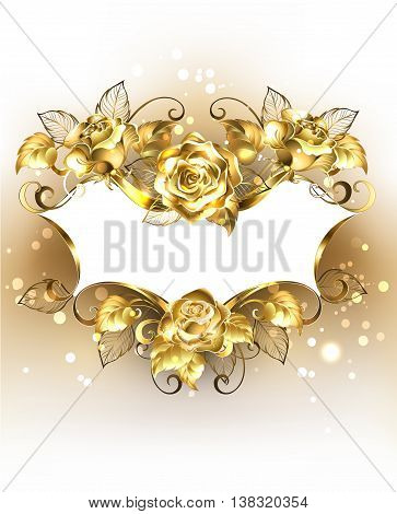 Gold jewelry banner of brocade with gold shining roses on a light background. Design with roses. Gold rose.