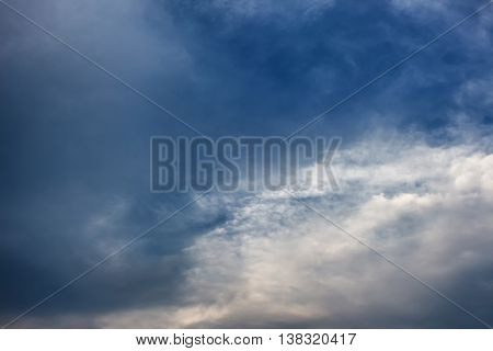 Dark blue sky and Cloud with covered raincloud beautiful in nature background