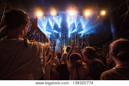 Rimetea (Torocko), Romania - July 1, 2016:Audience in front of the Main Stage at the Doublerise festival, the first multi art festival from Transylvania on July 1, 2016