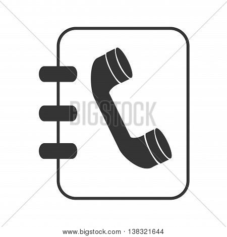 Telephone directory in black and white colors isolated flat icon, vector illustration.