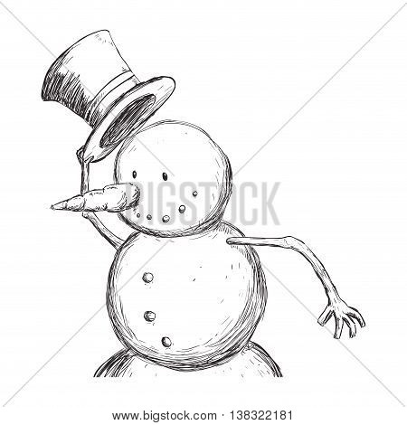 Merry Christmas concept represented by Snowman with hat icon. Isolated and flat illustration