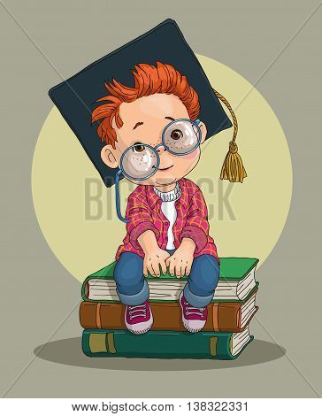 A little boy in an academic cap - a prospective student, sitting on a pile of huge books.