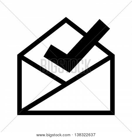 Check message, an open envelope and a tick mark