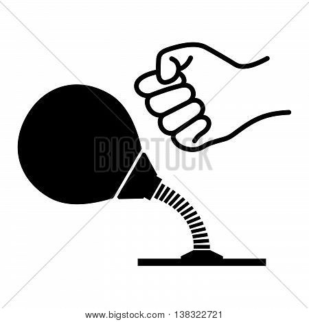 Desktop punching bag and a fist of the man