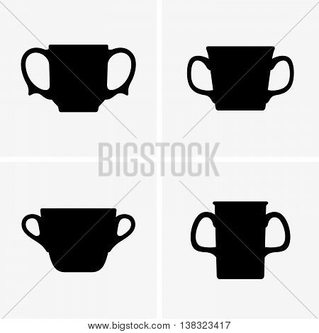 Set of two-handled mugs ( shade pictures )
