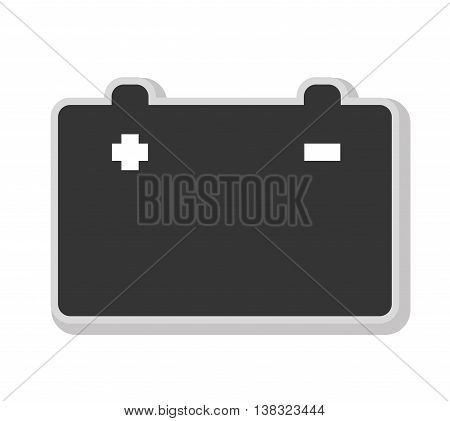 Battery in black and white colors isolated flat icon, vector illustration.