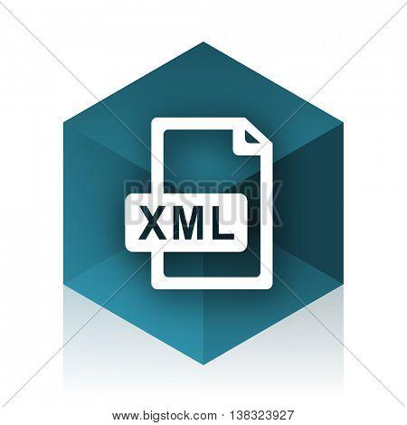 xml file blue cube icon, modern design web element