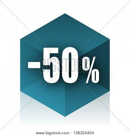 50 percent sale retail blue cube icon, modern design web element