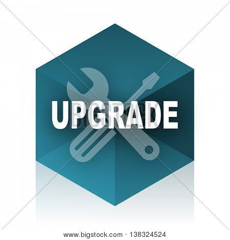 upgrade blue cube icon, modern design web element