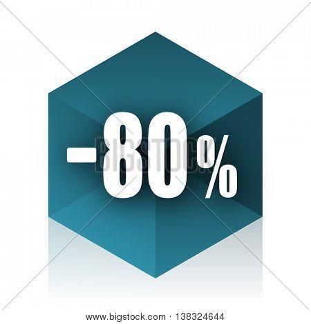 80 percent sale retail blue cube icon, modern design web element