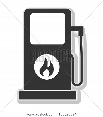 Gas station in black and white colors isolated flat icon, vector illustration.
