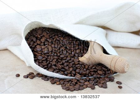 Coffee Beans Spilling From Burlap Sack.