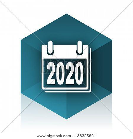 new year 2020 blue cube icon, modern design web element