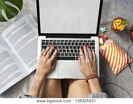 Female Hands Typing Macbook Concept