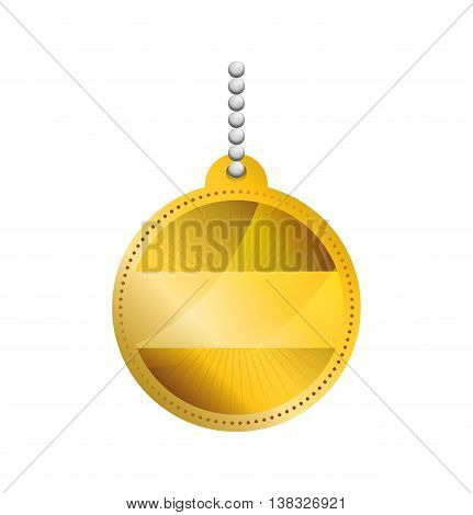 label concept represented by gold sticker icon. Isolated and flat illustration