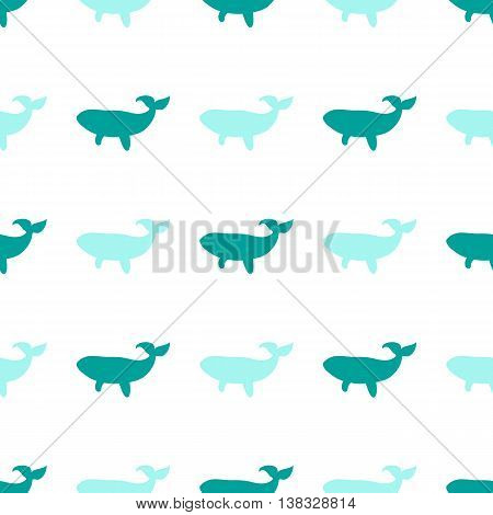 cute seamless pattern whale manual marine outline drawing