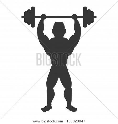 Healthy lifestyle and bodybuilder concept represented by Muscle man icon. Isolated and flat illustration
