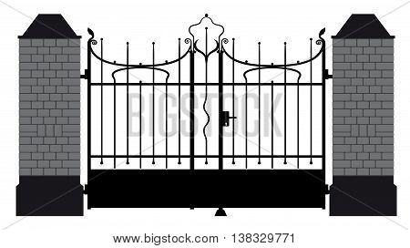 vector illustration of a wrought iron gate