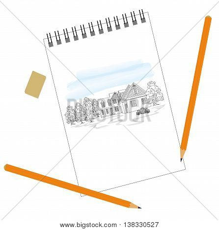 Picture House in nature, drawn in a notebook. It lies next to the eraser and pencils. vector illustration.