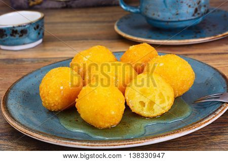 Sweet Cheese Balls Donuts on Plate