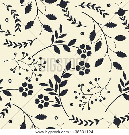 Endless pattern with bouquets of flowers and leaves black on yellow