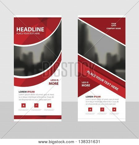 Red curve Business Roll Up Banner flat design template Abstract Geometric banner template Vector illustration set abstract presentation brochure flyer template vertical template vector