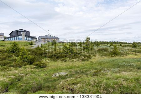 OYER, NORWAY - JUNE 26: Pellestova Hotel on the Pellestova mountain plateau near Hafjell on June 26, 2016 in Geiranger, Norway. Pellestova Hotel is a winter cross-country ski center in Haifell.