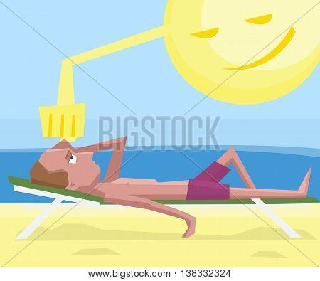 man getting sunstroke at beach - funny colorful vector cartoon illustration