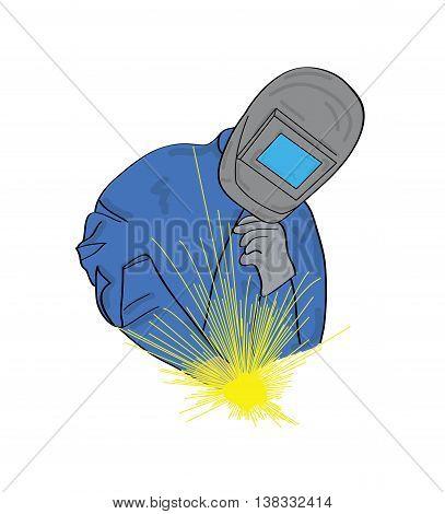 welder icon in the background. insulation. vector illustration