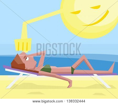 woman getting sunstroke at beach - funny colorful vector cartoon illustration