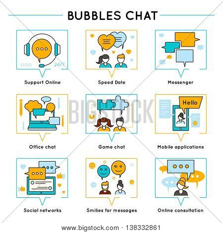 Chat colored line icon set with descriptions of support online speed date messenger office chat social networks and other vector illustration