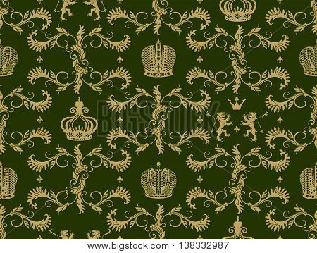 Royal crown seamless pattern with beige flourish ornament heraldic lion on green background vector illustration