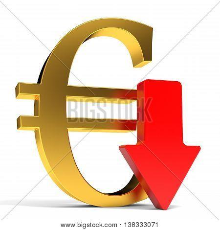 Euro falls. Arrow on white background. 3D illustration.