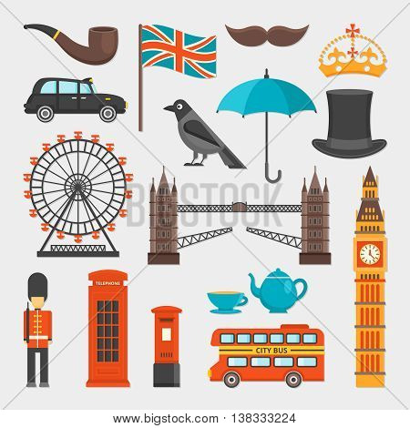 London isolated icon set with main attractions of the city and distinctive features vector illustration