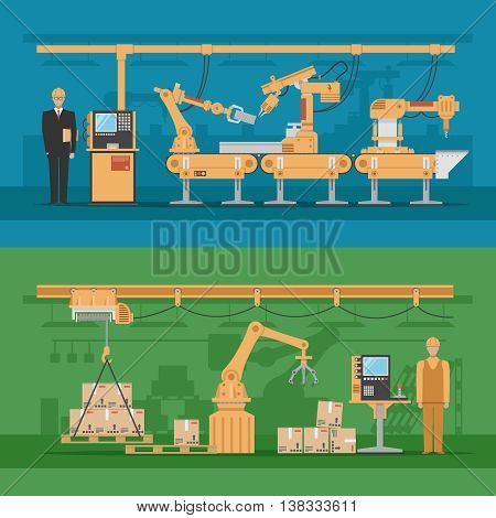 Automated assembly compositions with production process and robotic warehouse on blue and green backgrounds isolated vector illustration