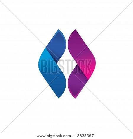 Letter O logo, Abstract sphere leaf or wing reflect logo, volume vector icon design template element, double infinity loop logo design template. Beauty eye violet and blue concept.