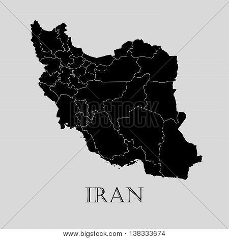 Black Iran map on light grey background. Black Iran map - vector illustration.