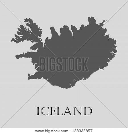 Gray Iceland map on light grey background. Gray Iceland map - vector illustration.