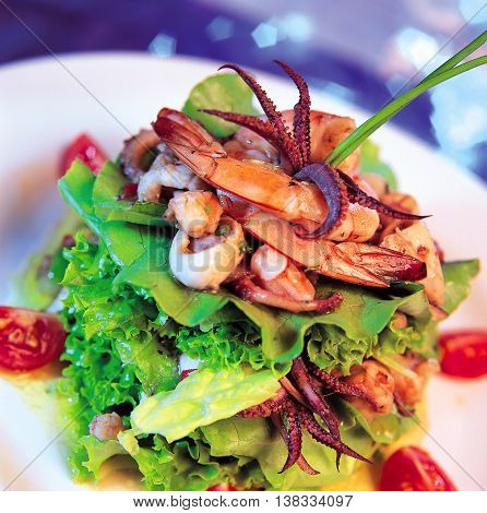 Gourmet Delicious dishes to sea food restaurant
